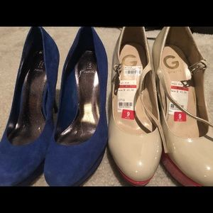 Bakers Royal blue heels & Guess tan and red heels